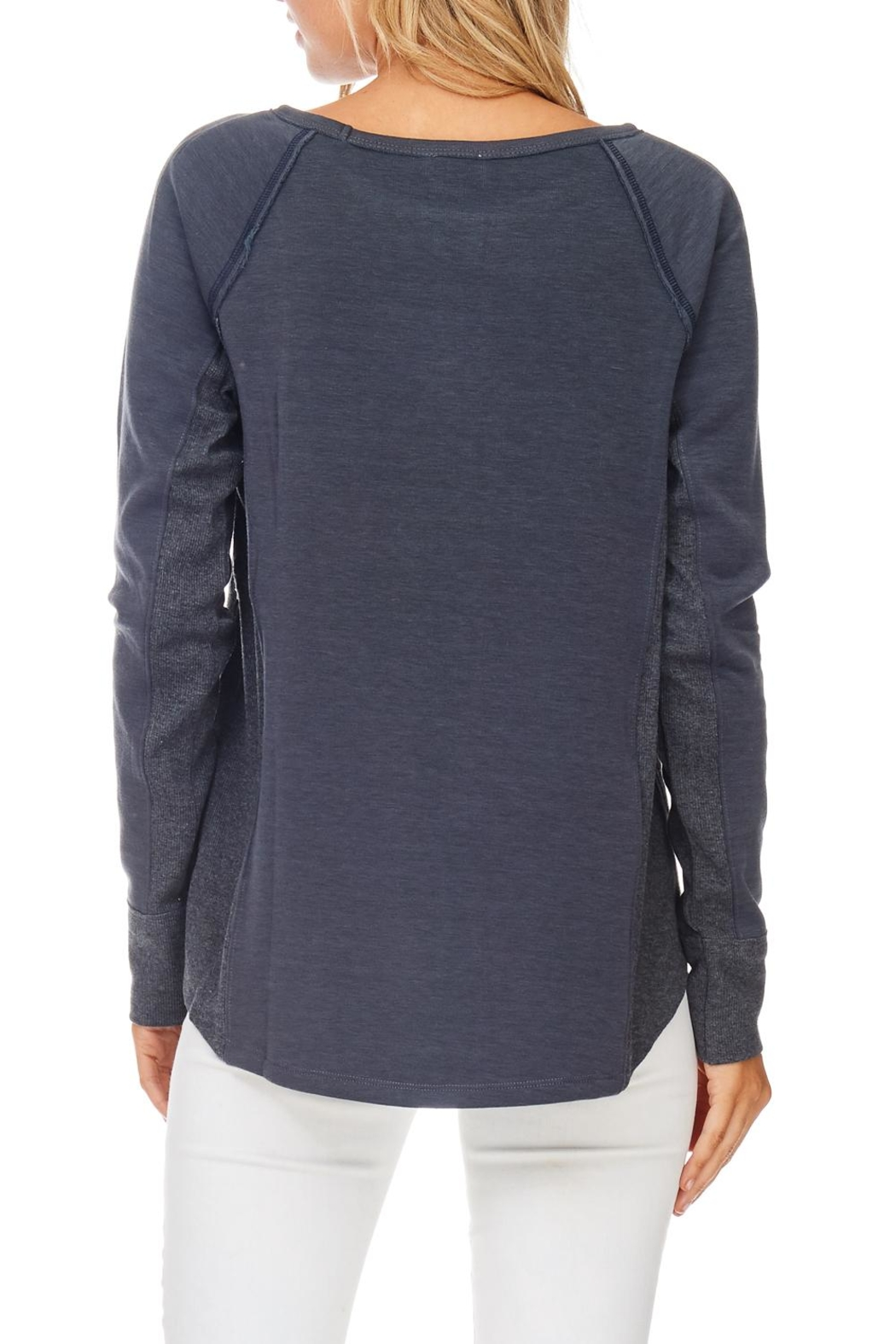 Hem & Thread Navy Stitched Pullover Top - Front Full Image