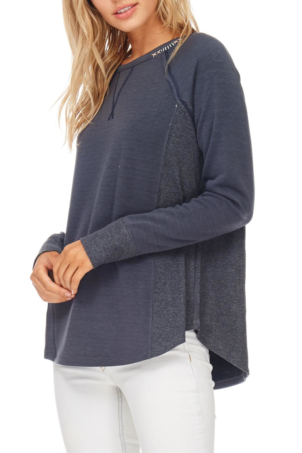 Hem & Thread Navy Stitched Pullover Top - Main Image
