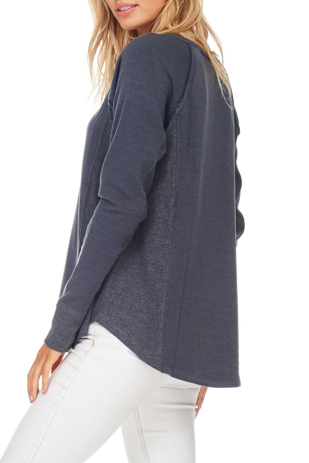 Hem & Thread Navy Stitched Pullover Top - Side Cropped Image