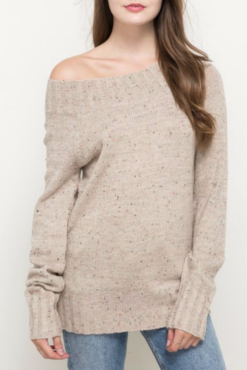 Hem & Thread Oatmeal Sprinkled Sweater - Front Cropped Image