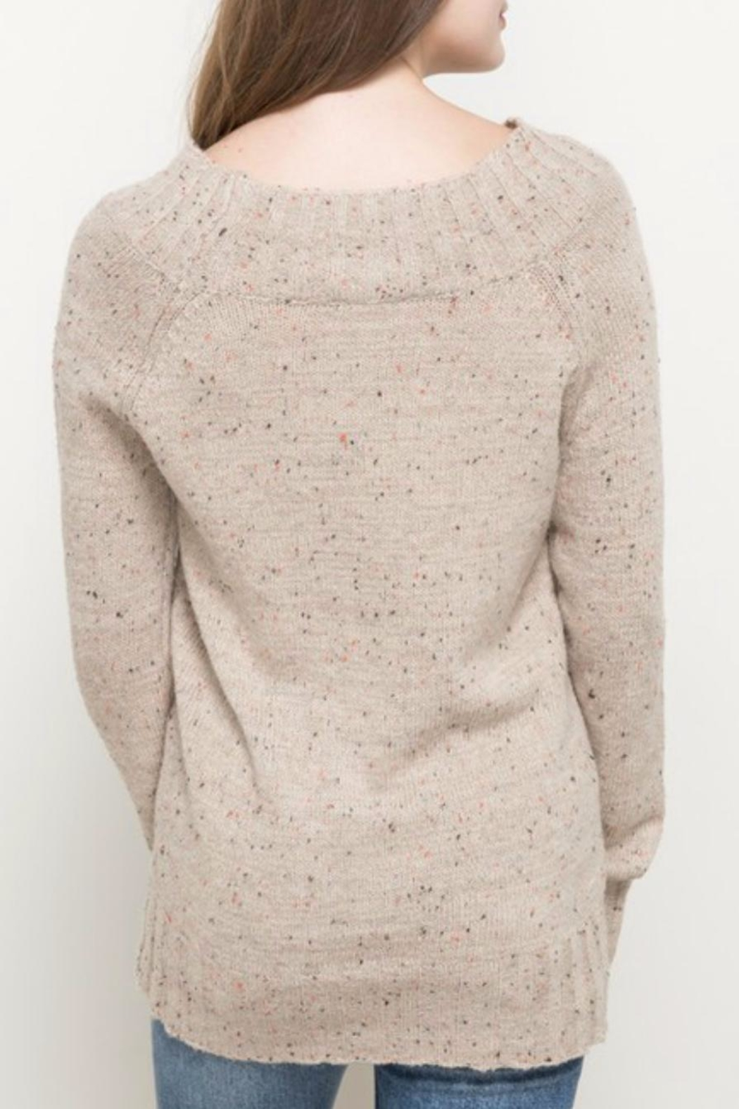 Hem & Thread Oatmeal Sprinkled Sweater - Side Cropped Image