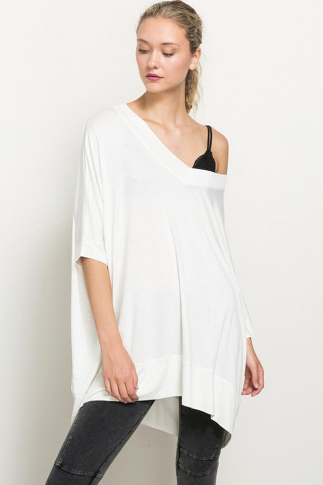 Hem & Thread Off The Shoulder High Low Hem Top - Main Image