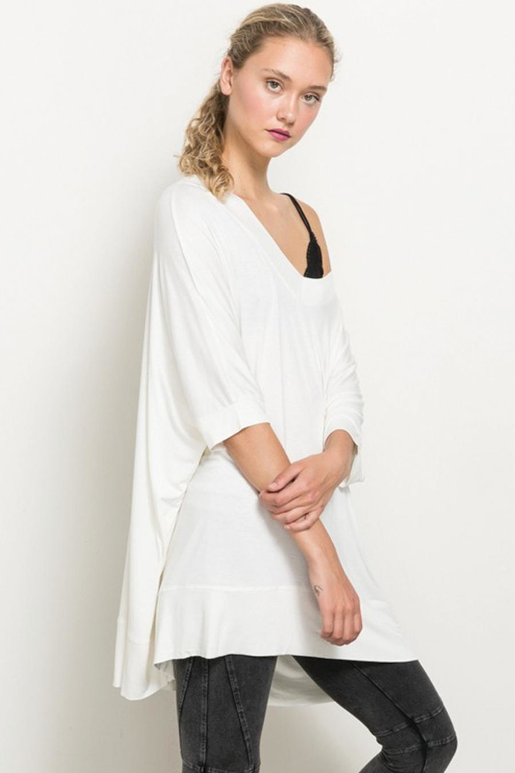 Hem & Thread Off The Shoulder High Low Hem Top - Back Cropped Image
