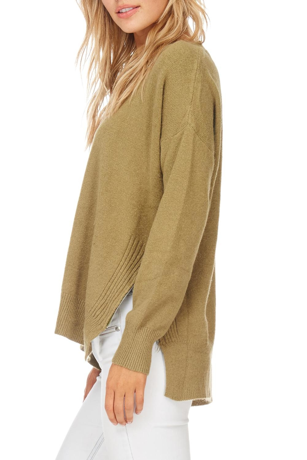 Hem & Thread Olive Zip Sweater - Back Cropped Image
