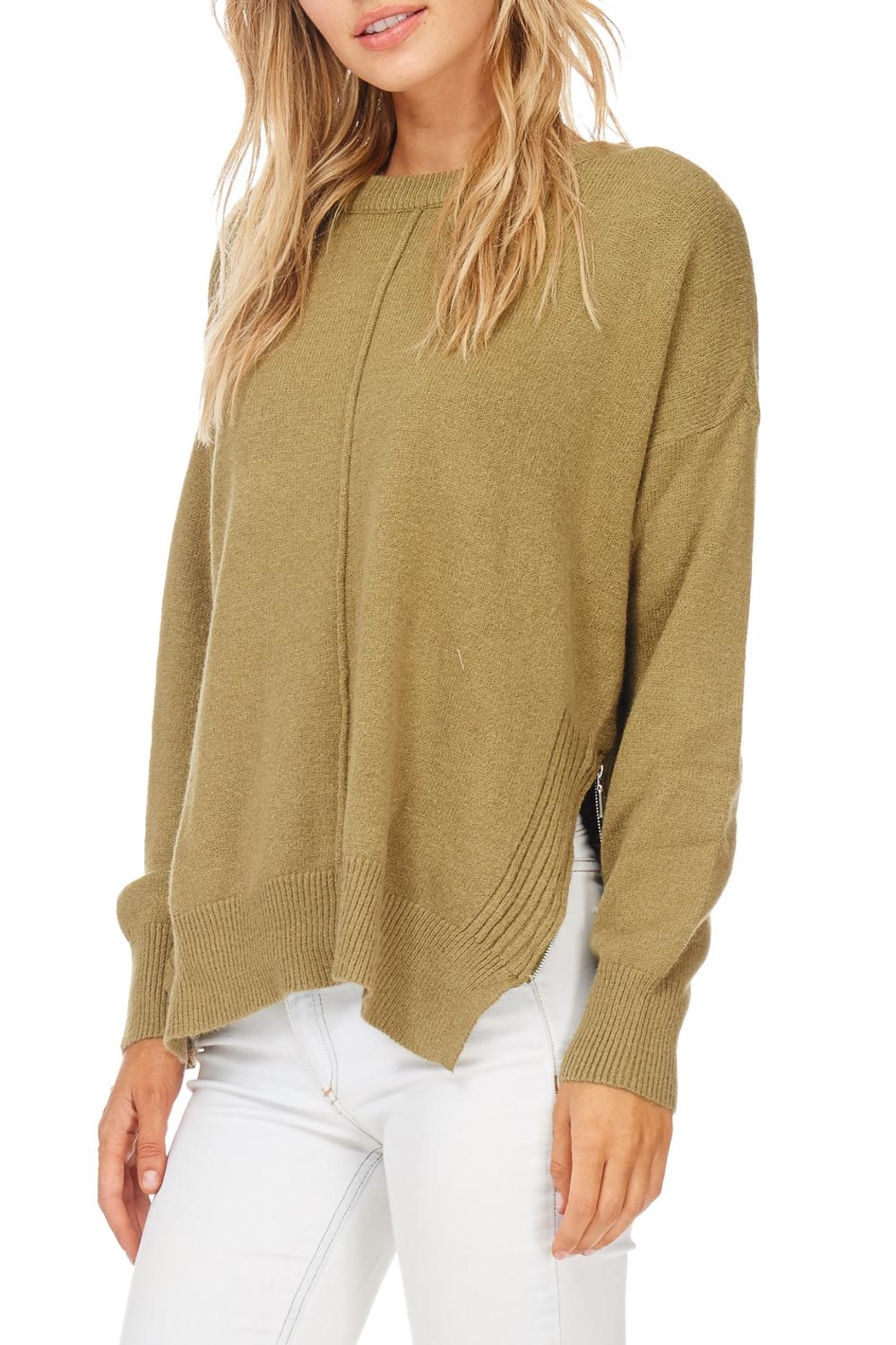 Hem & Thread Olive Zip Sweater - Front Cropped Image