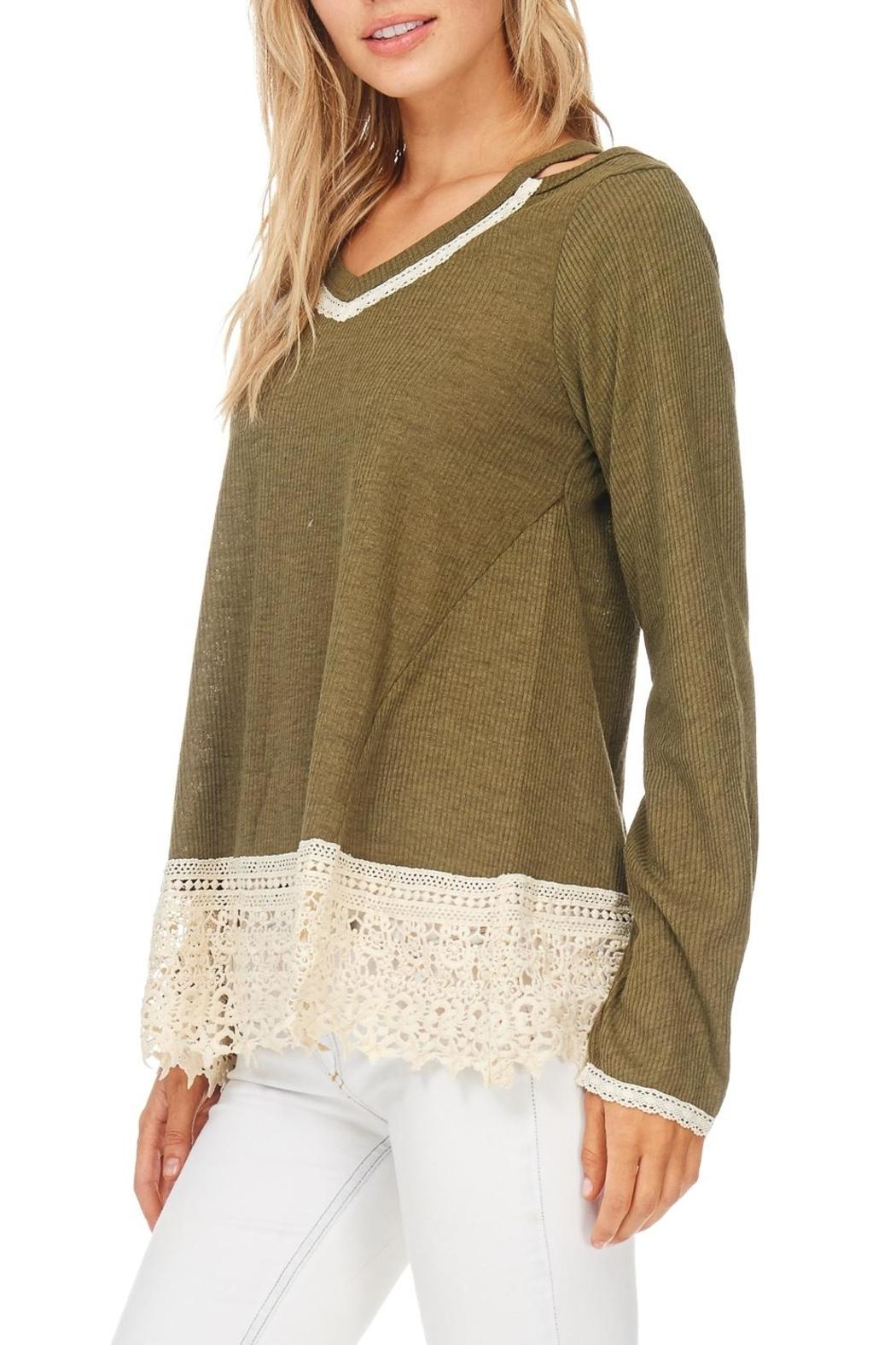 Hem & Thread Olive Cold Shoulder Top - Main Image