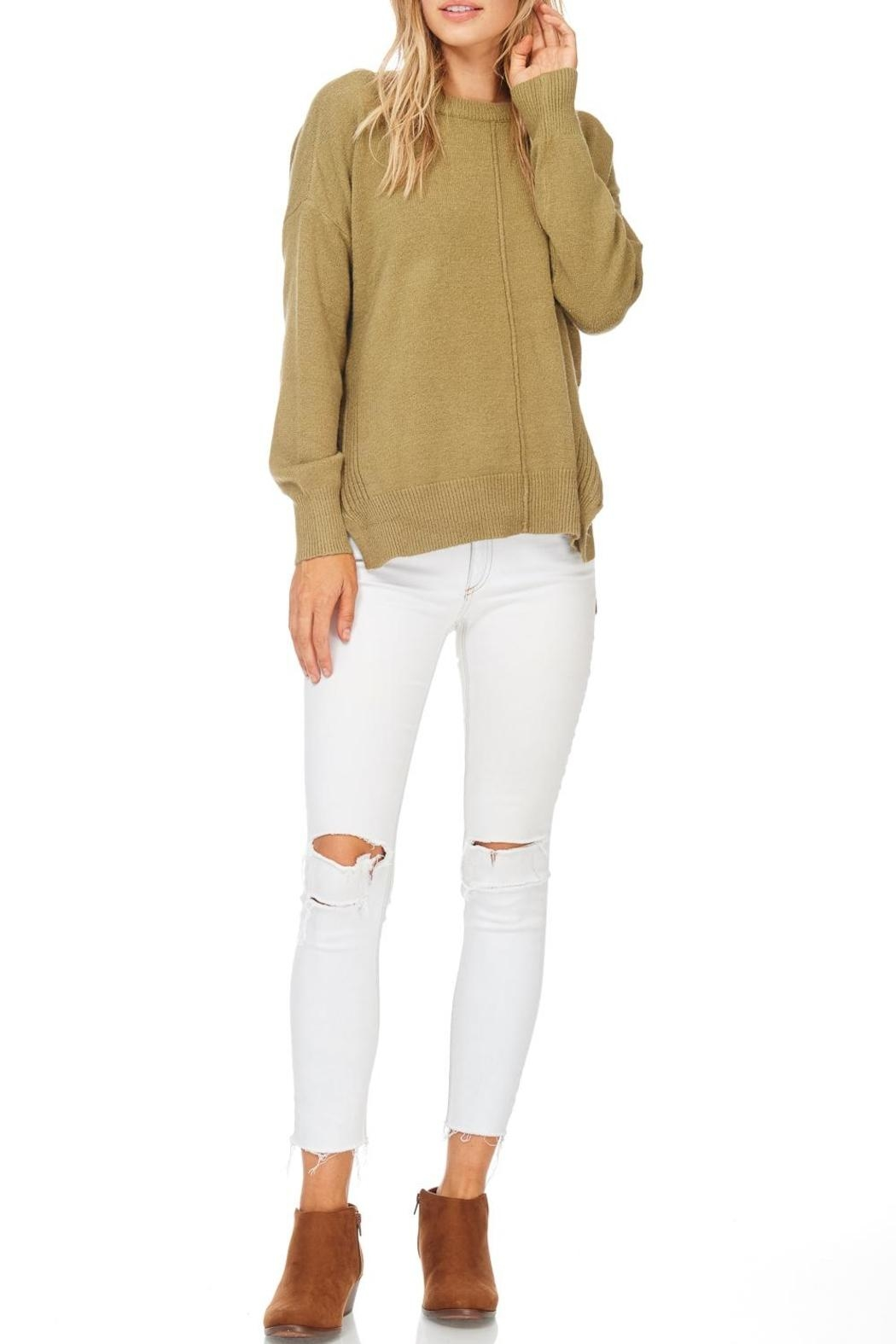 Hem & Thread Olive Crew Neck Sweater - Front Cropped Image