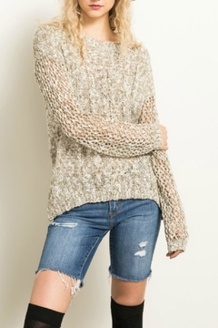 Shoptiques Product: Olive Netted-Sleeve Sweater