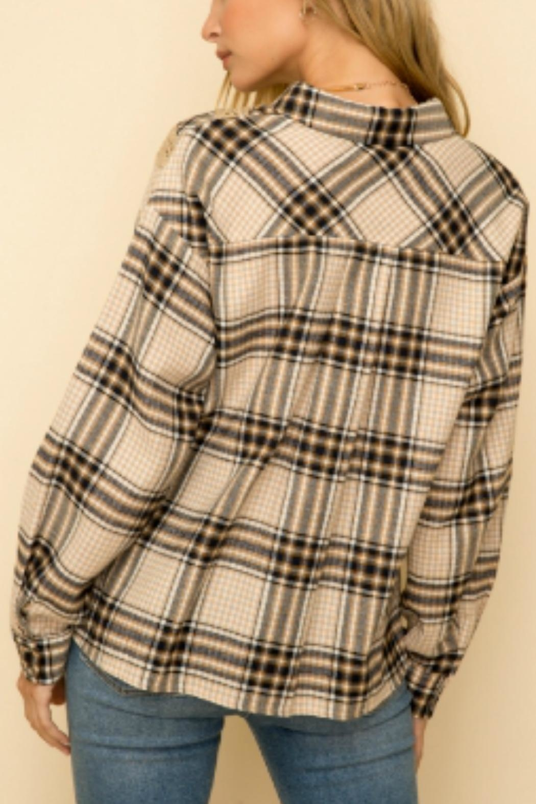 Hem & Thread Over-Sized Plaid Button-Down-Shirt - Front Full Image