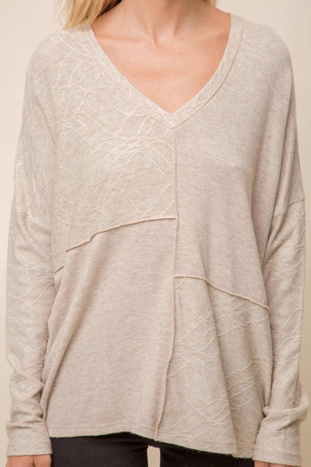Hem & Thread Patchwork Knit Sweater - Side Cropped Image