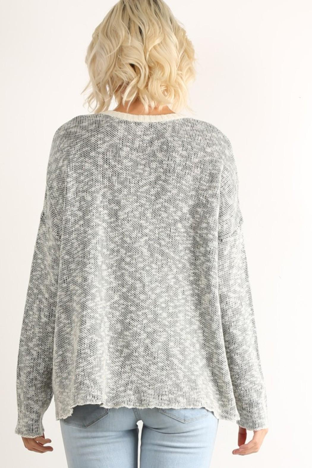 Hem & Thread Patterned Pullover Sweater - Front Full Image