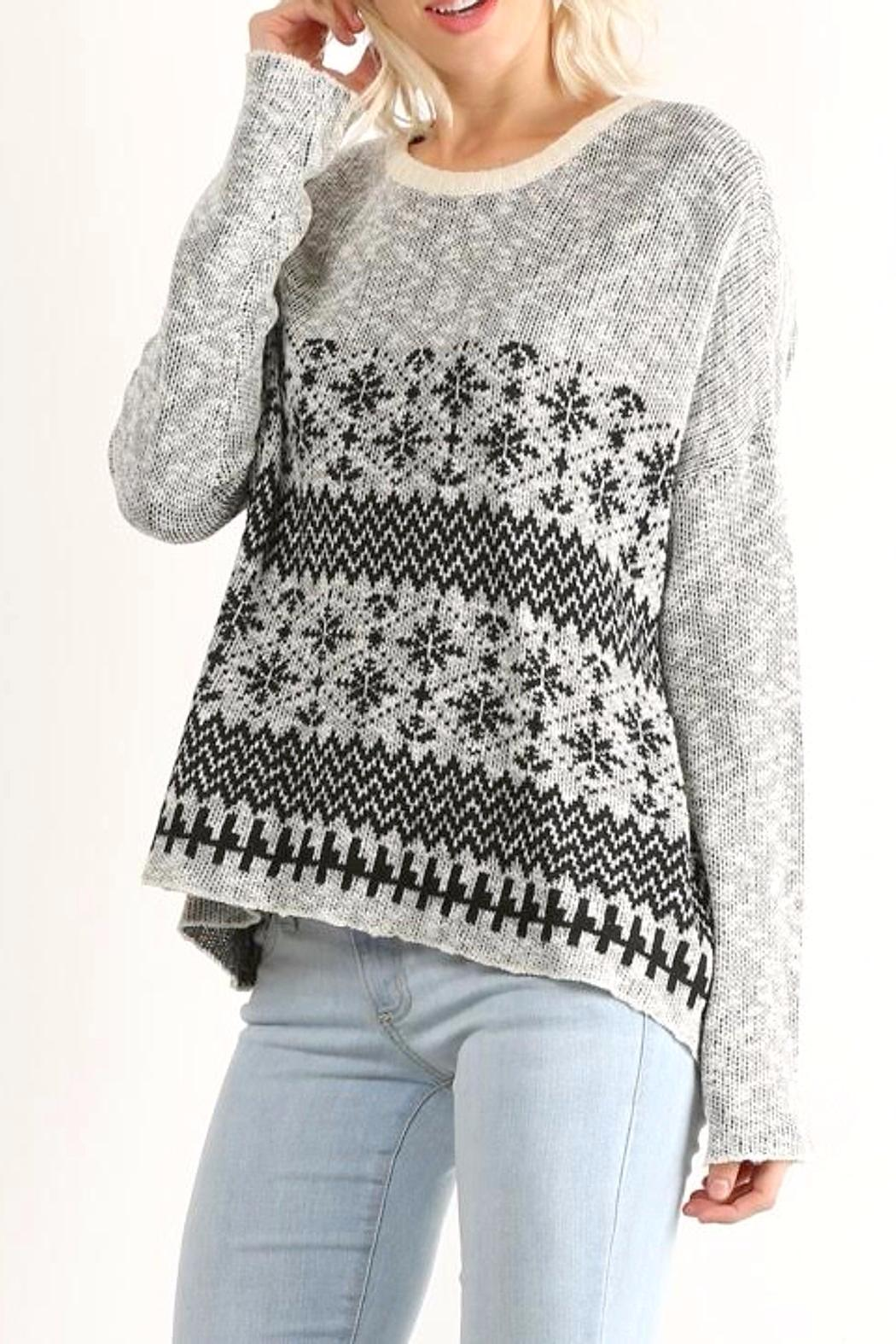 Hem & Thread Patterned Pullover Sweater - Main Image