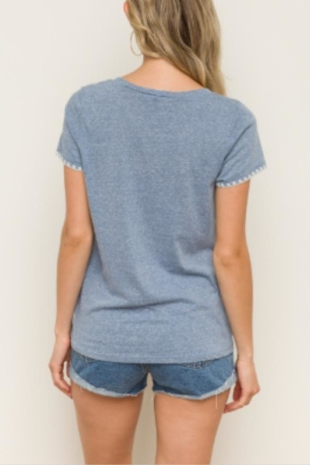 Hem & Thread Picot Edge Tee - Front Full Image