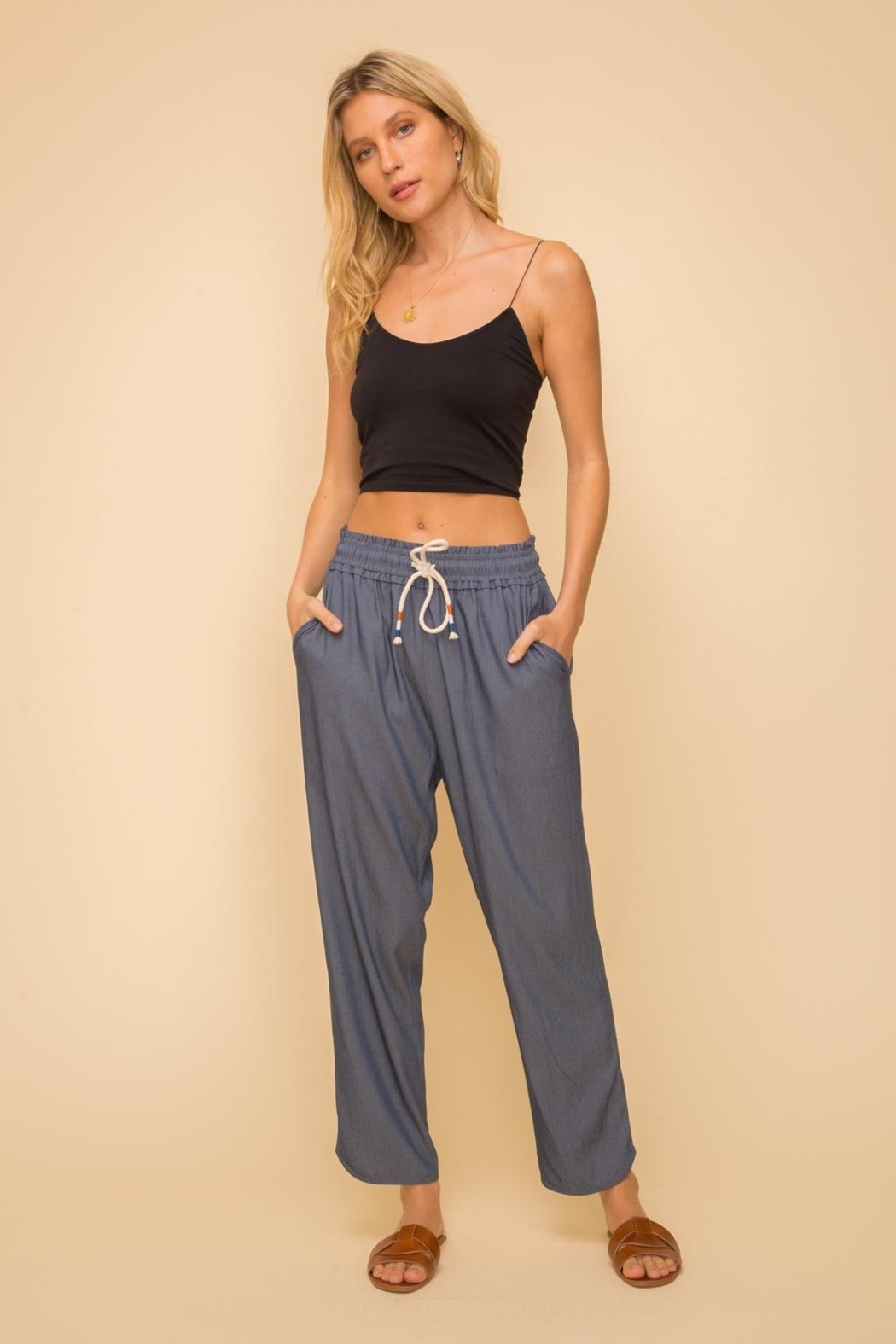 Hem & Thread Pull-On Relaxed Pant - Main Image