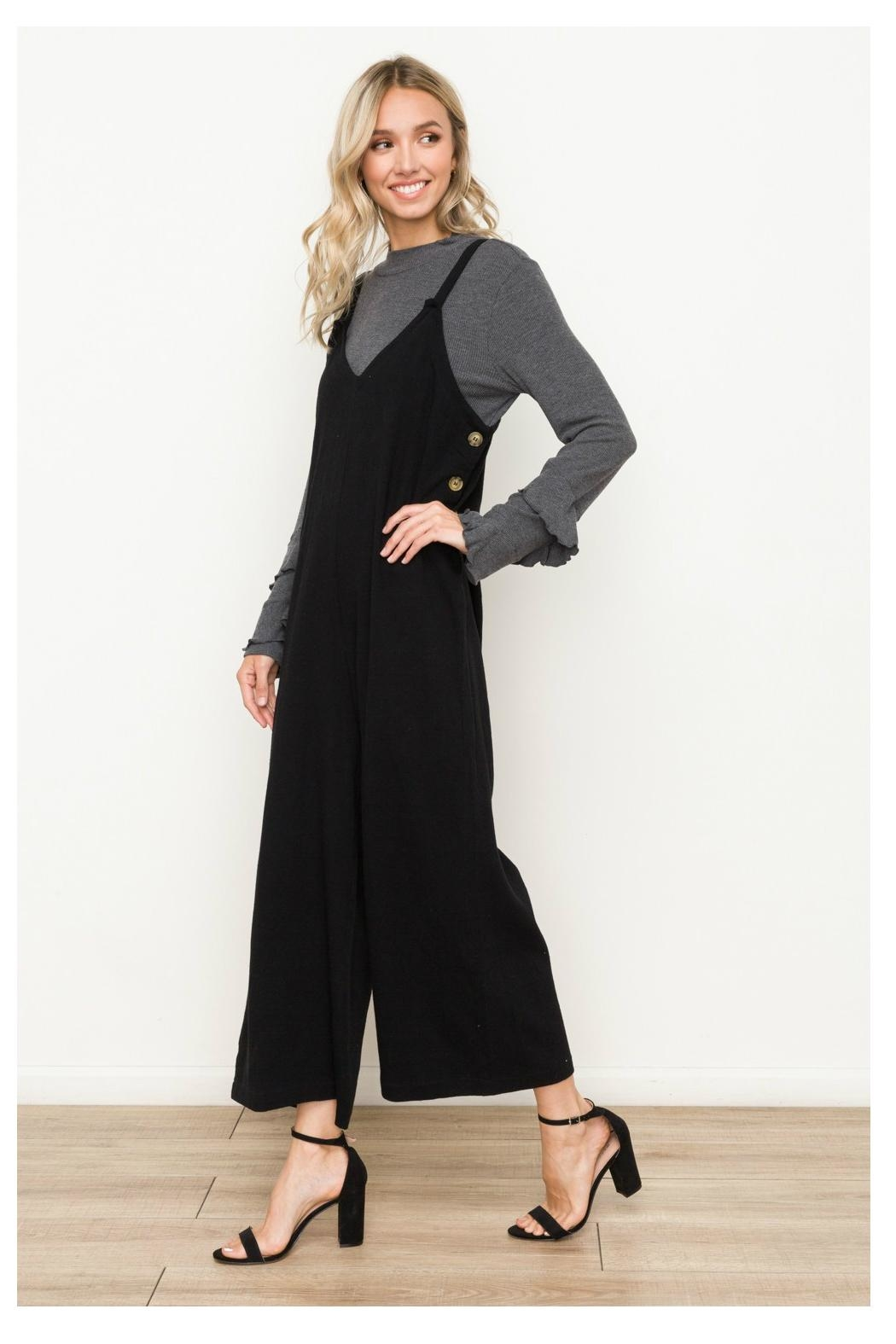 Hem & Thread Side Button Overalls - Side Cropped Image