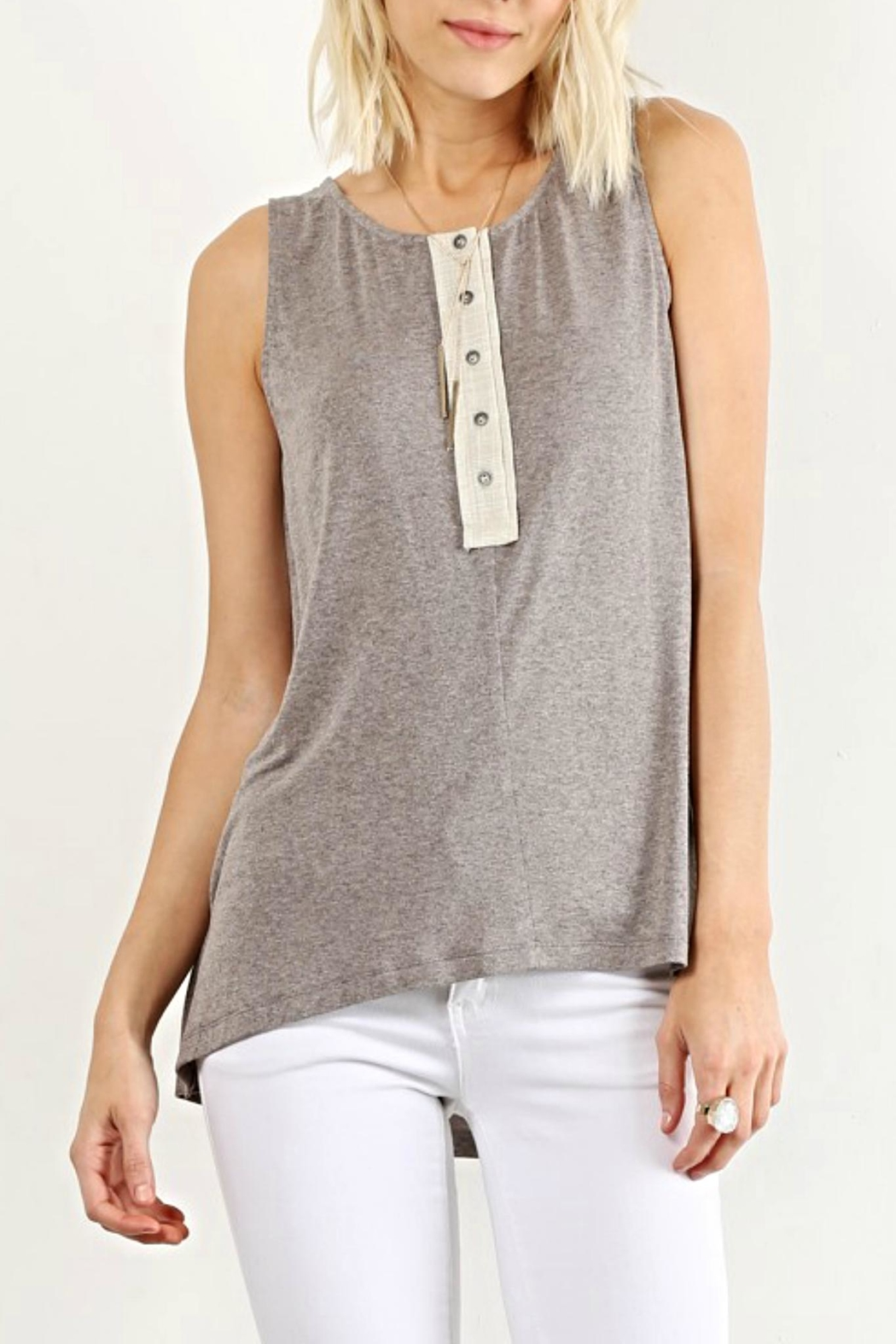 Hem & Thread Sleeveless Button Top - Front Cropped Image
