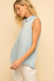 Hem & Thread Sleeveless Denim Shirt - Product Mini Image