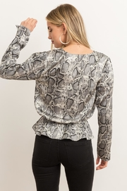 Hem & Thread Snakeskin Peplum Blouse - Front full body