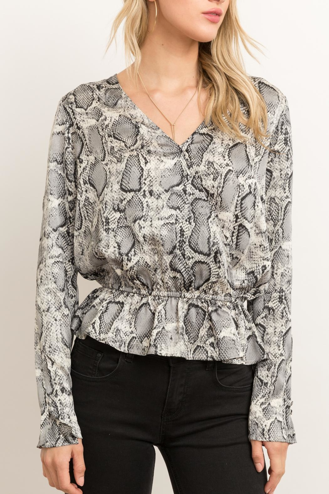 Hem & Thread Snakeskin Peplum Blouse - Back Cropped Image