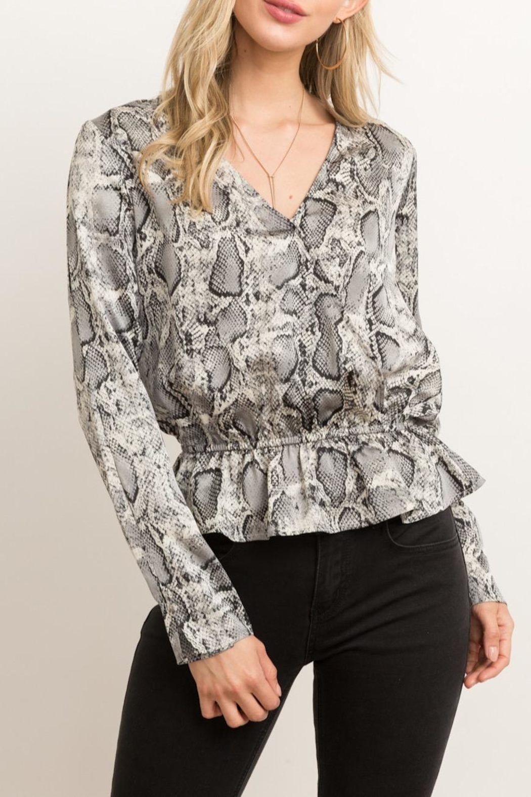 Hem & Thread Snakeskin Peplum Blouse - Main Image