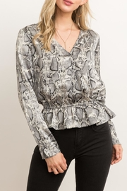 Hem & Thread Snakeskin Peplum Blouse - Front cropped