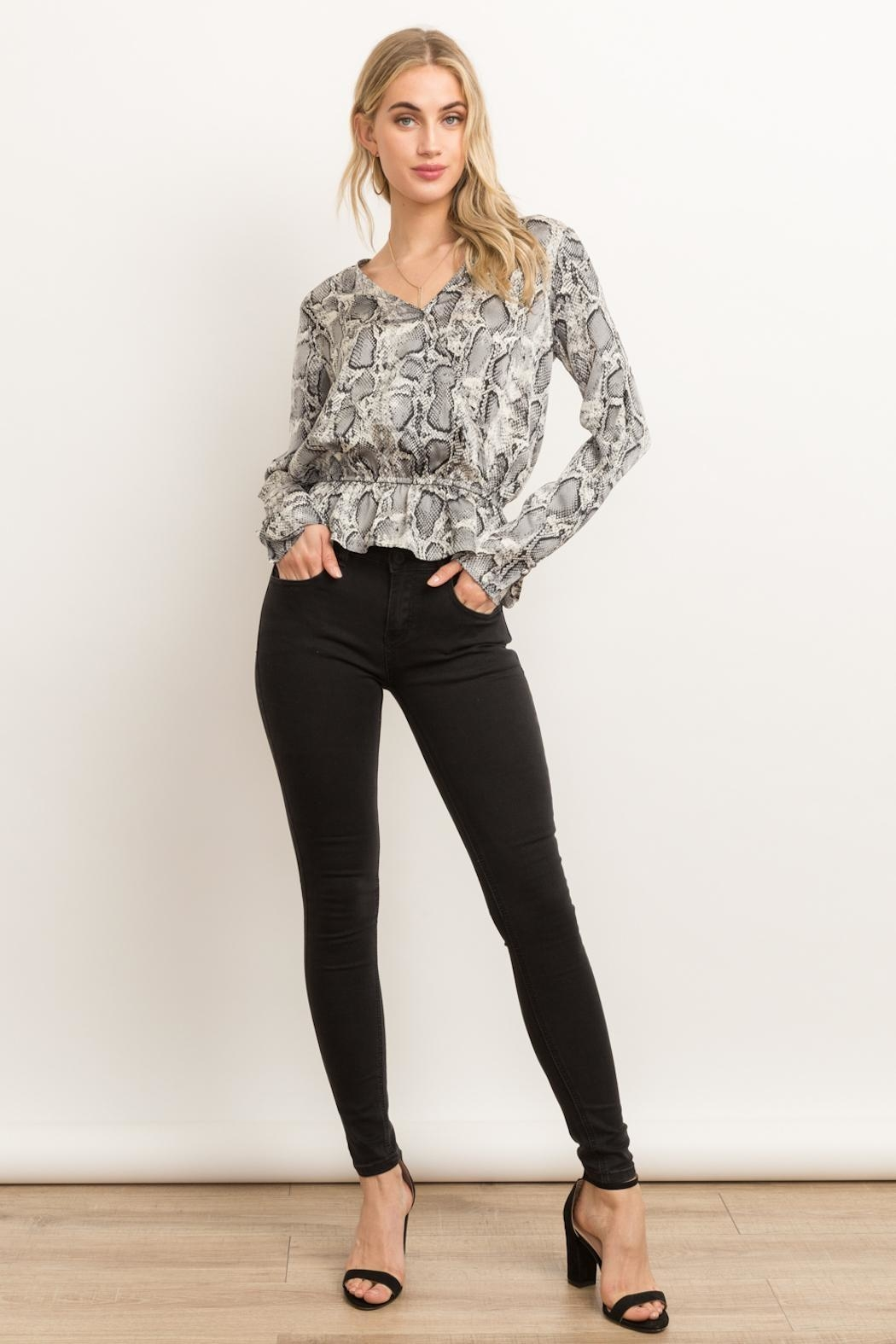 Hem & Thread Snakeskin Peplum Top - Front Cropped Image