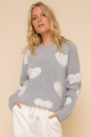 Hem & Thread So Soft Heart Crew Neck Cozy Pullover Sweater - Product Mini Image