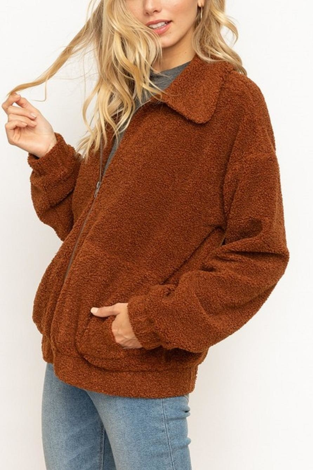 Hem & Thread Soft Teddy Jacket - Front Cropped Image