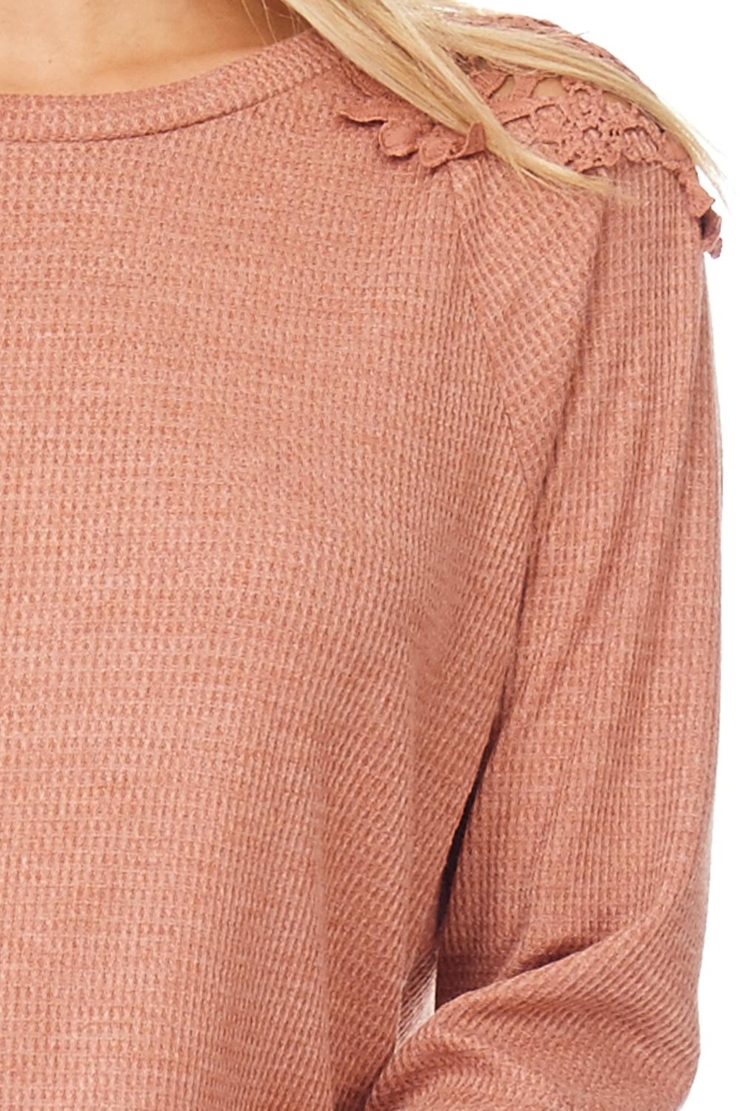 Hem & Thread Solid Lace Sweater - Front Full Image