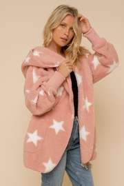 Hem & Thread Star Print One Size Faux Fur Super Soft Plush Hooded Jacket With Side Pockets - Product Mini Image