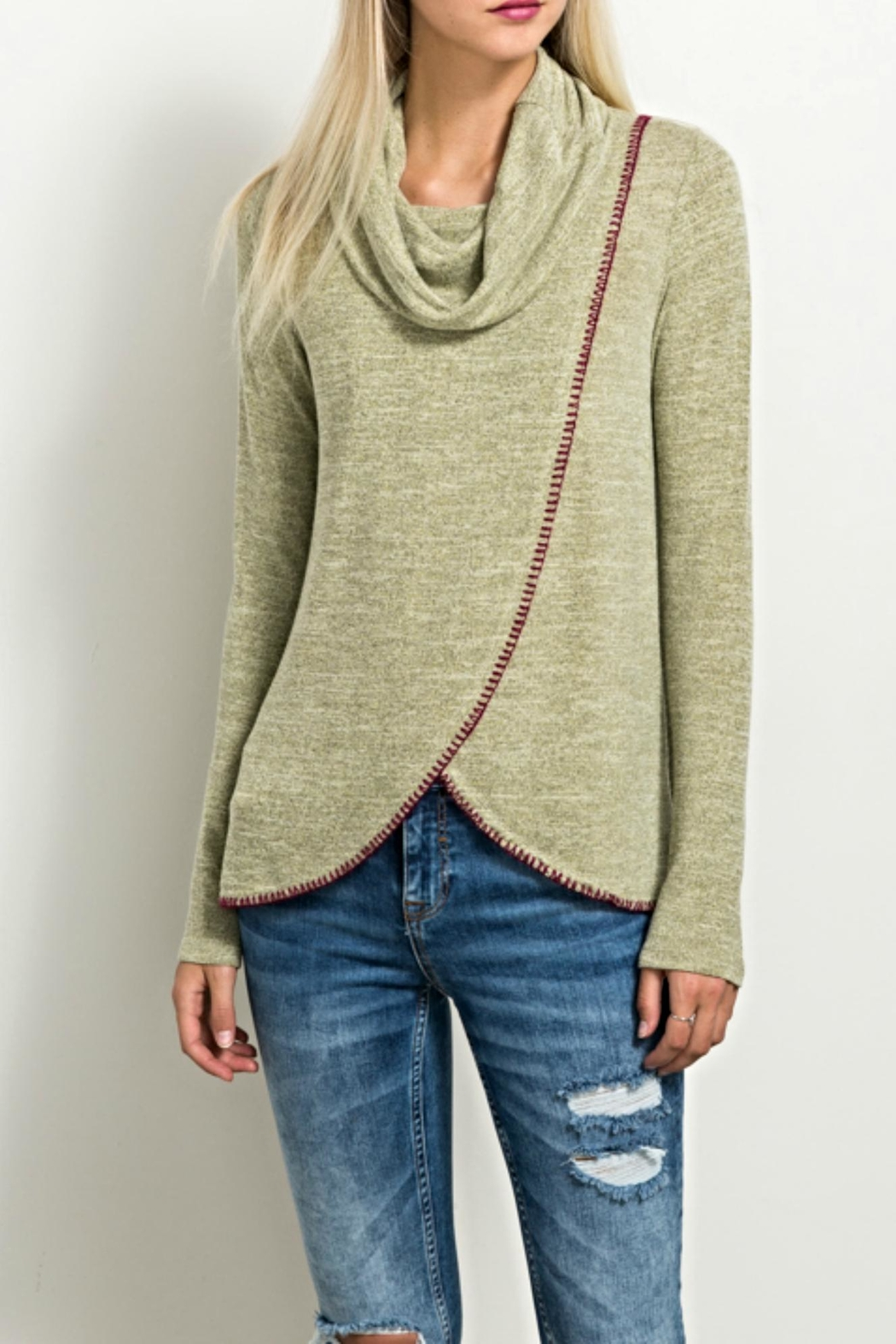 Hem & Thread Stitch Turtleneck Sweater - Front Cropped Image