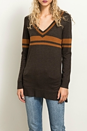 Hem & Thread Stripe Letterman Sweater - Product Mini Image