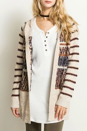 Hem & Thread Stripe Open-Sweater Cardigan - Product Mini Image