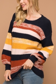 Hem & Thread Striped Balloon Sleeve Sweater - Front cropped
