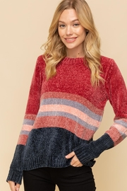 Hem & Thread Striped Chenille Sweater - Front cropped