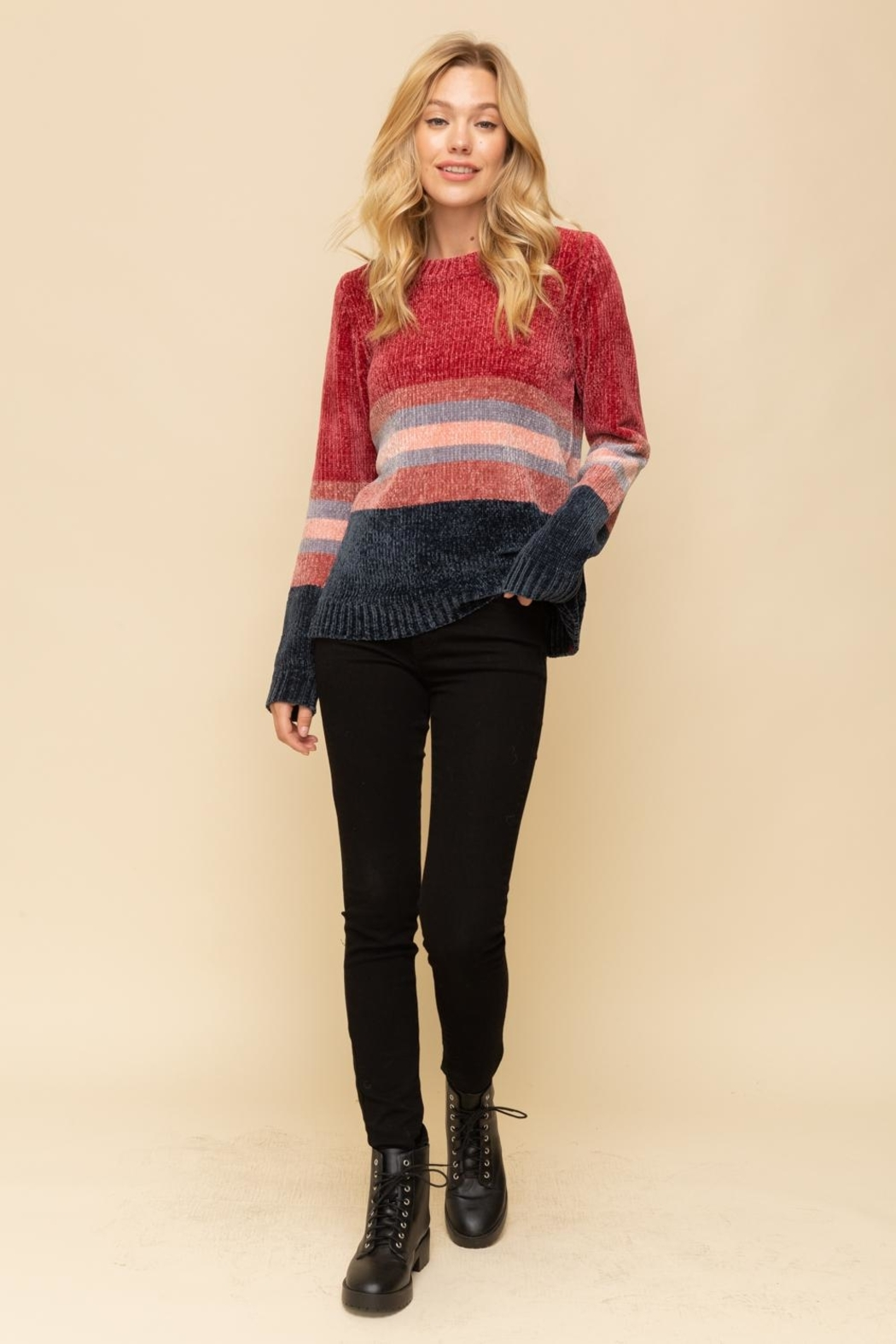 Hem & Thread Striped Chenille Sweater - Side Cropped Image