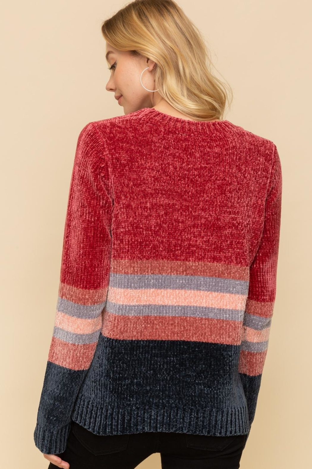 Hem & Thread Striped Chenille Sweater - Back Cropped Image