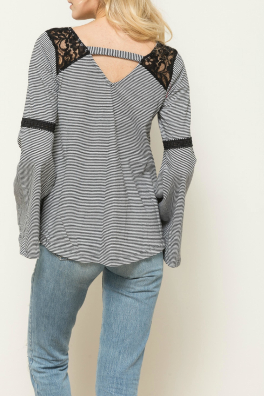 Hem & Thread Striped Lace Belle - Front Full Image