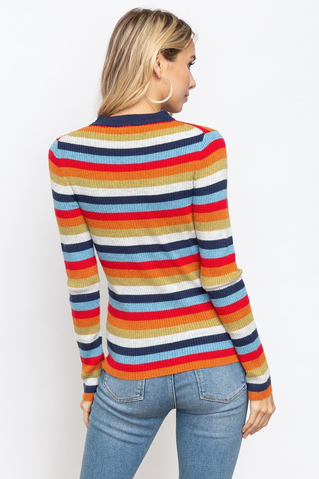 Hem & Thread Striped Mock Neck - Side Cropped Image
