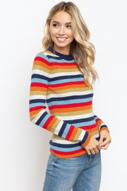Hem & Thread Striped Mock Neck - Front full body