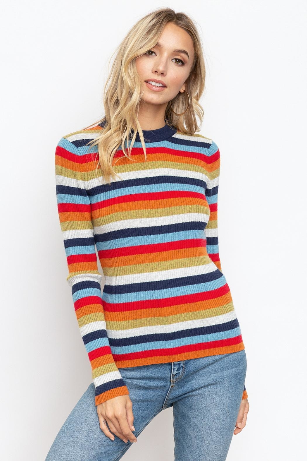 Hem & Thread Striped Mock Neck - Main Image
