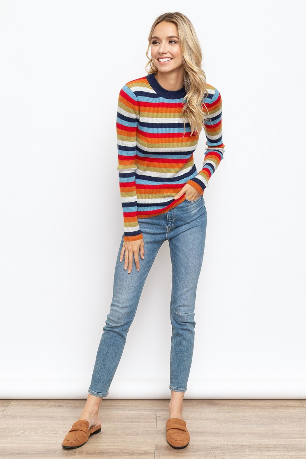 Hem & Thread Striped Mock Neck - Back Cropped Image