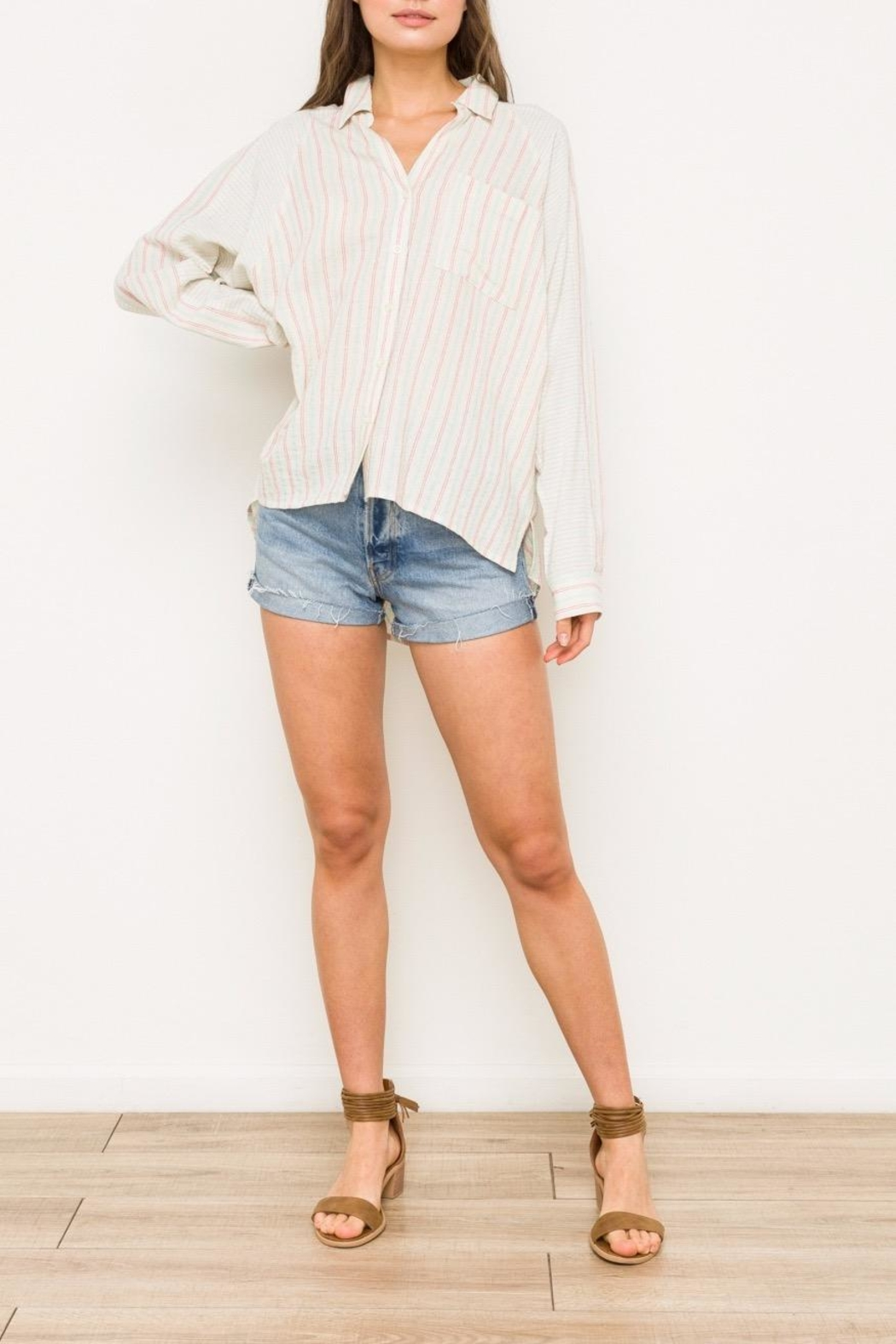 Hem & Thread Striped Oversized Shirt - Front Cropped Image
