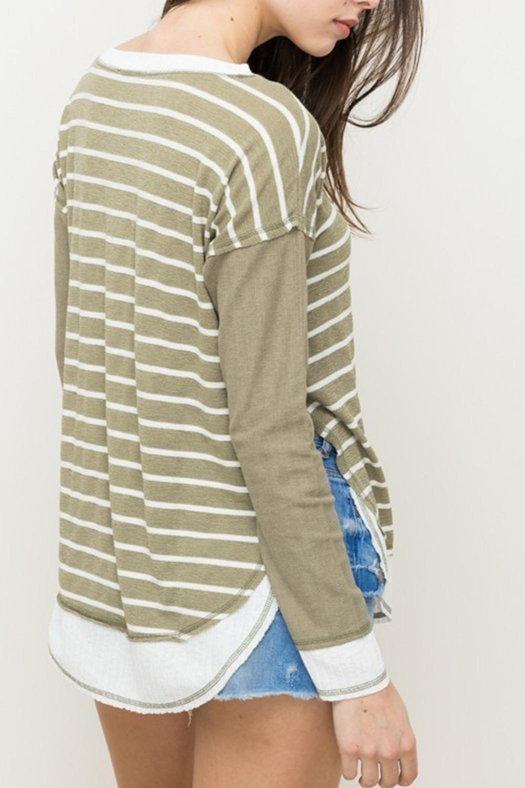 Hem & Thread Striped Oversized Top - Back Cropped Image