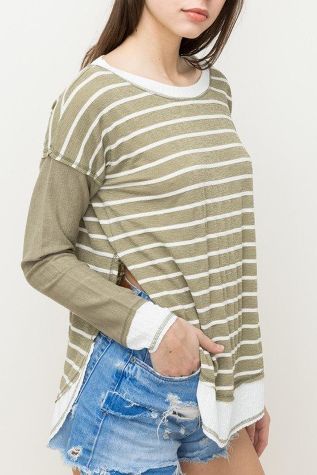 Hem & Thread Striped Oversized Top - Side Cropped Image