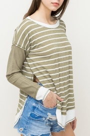 Hem & Thread Striped Oversized Top - Side cropped