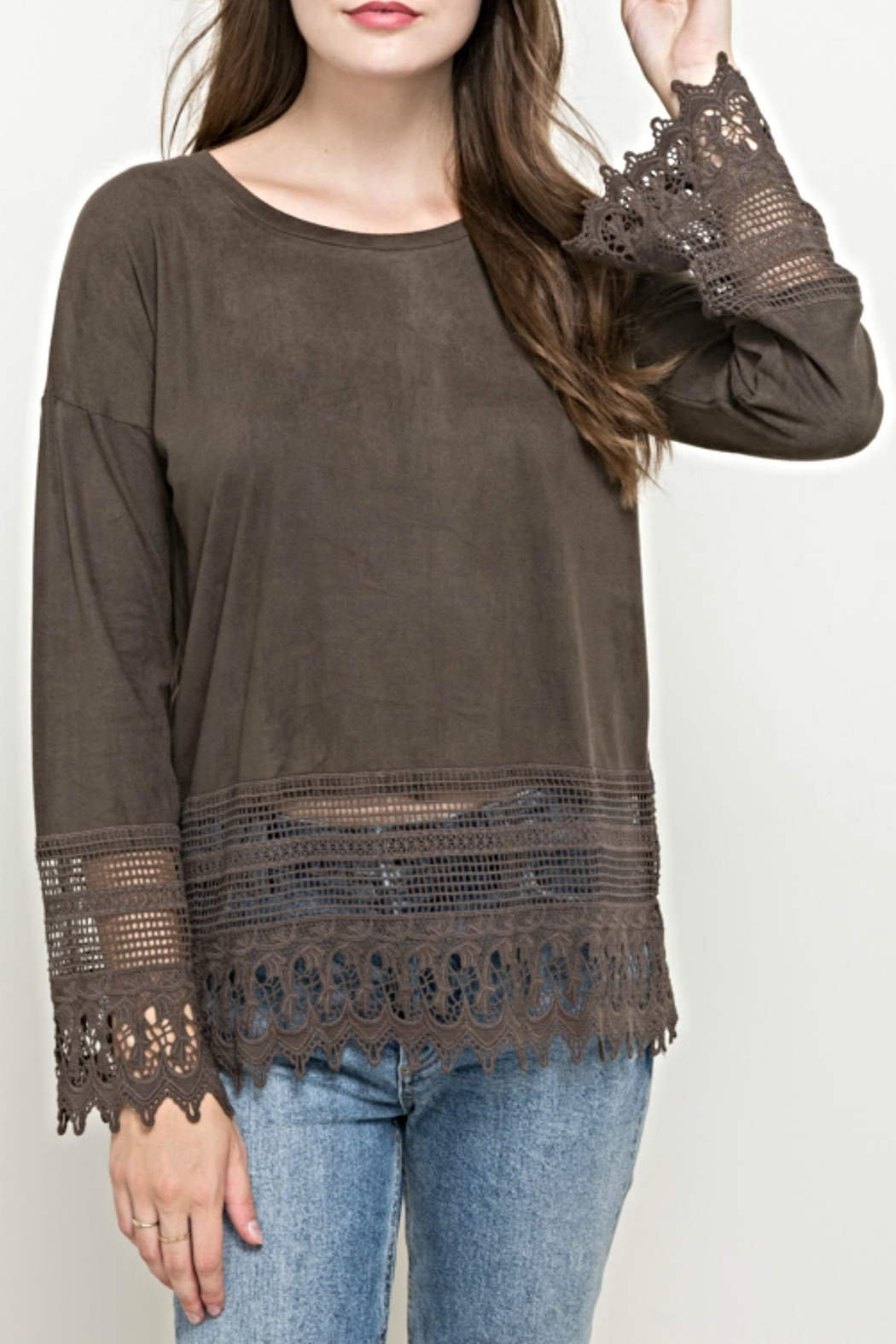 Hem & Thread Suede Lace Top - Main Image