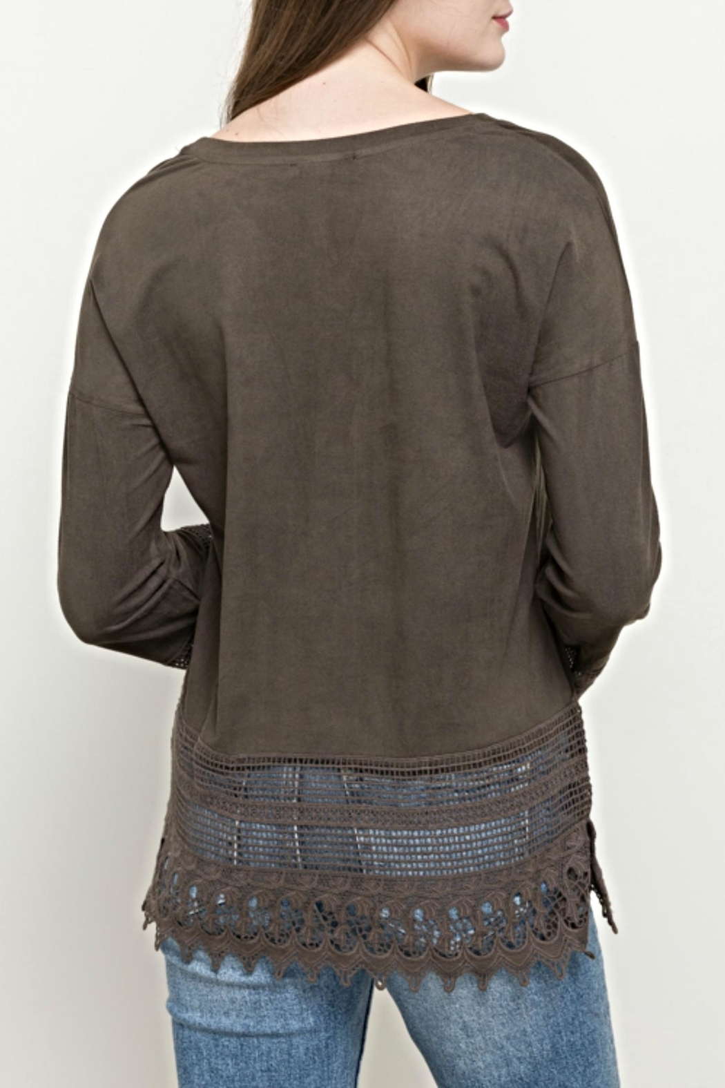 Hem & Thread Suede Lace Top - Front Full Image