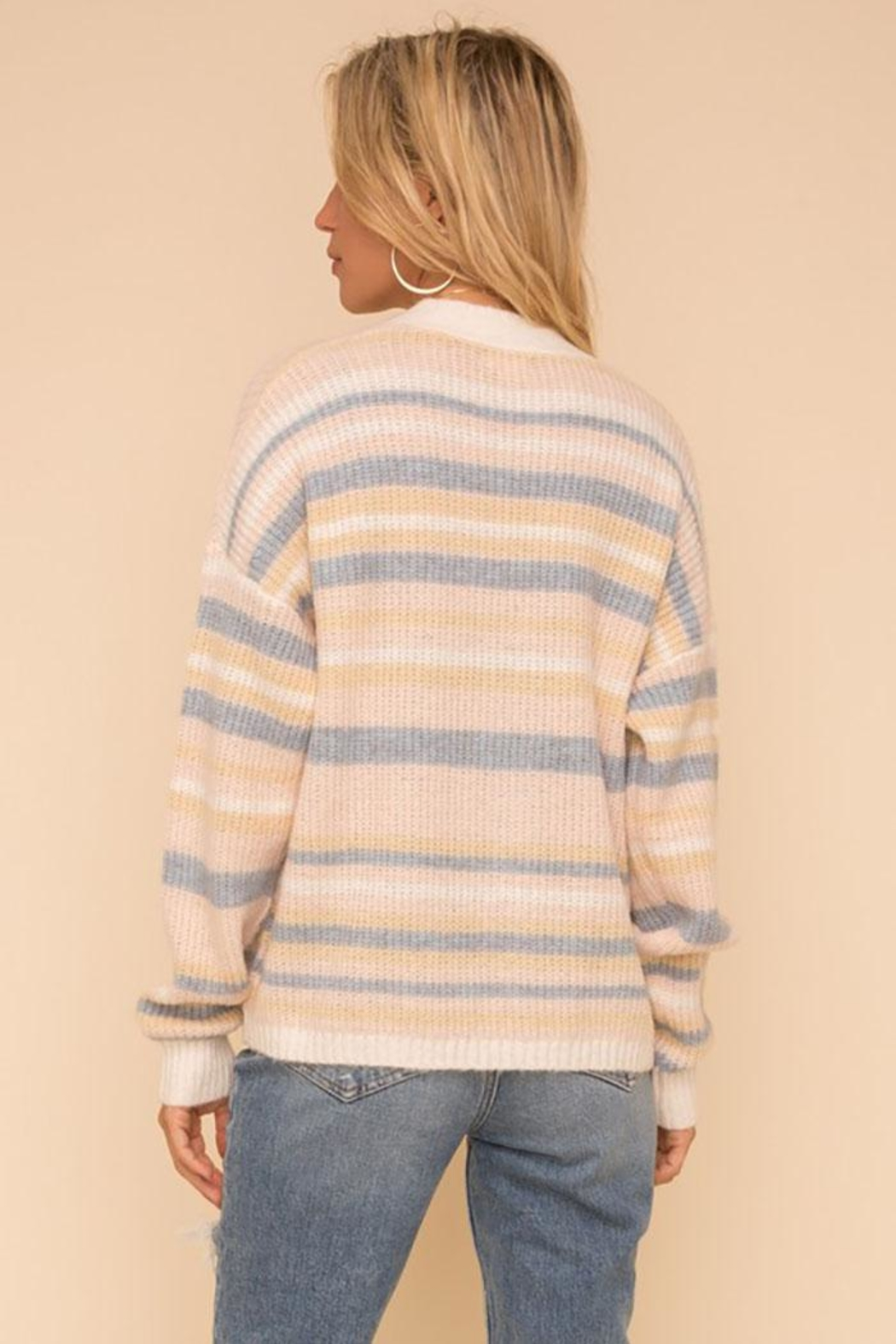 Hem & Thread Super Soft And Cozy Color Striped Sweater Cardigan - Back Cropped Image