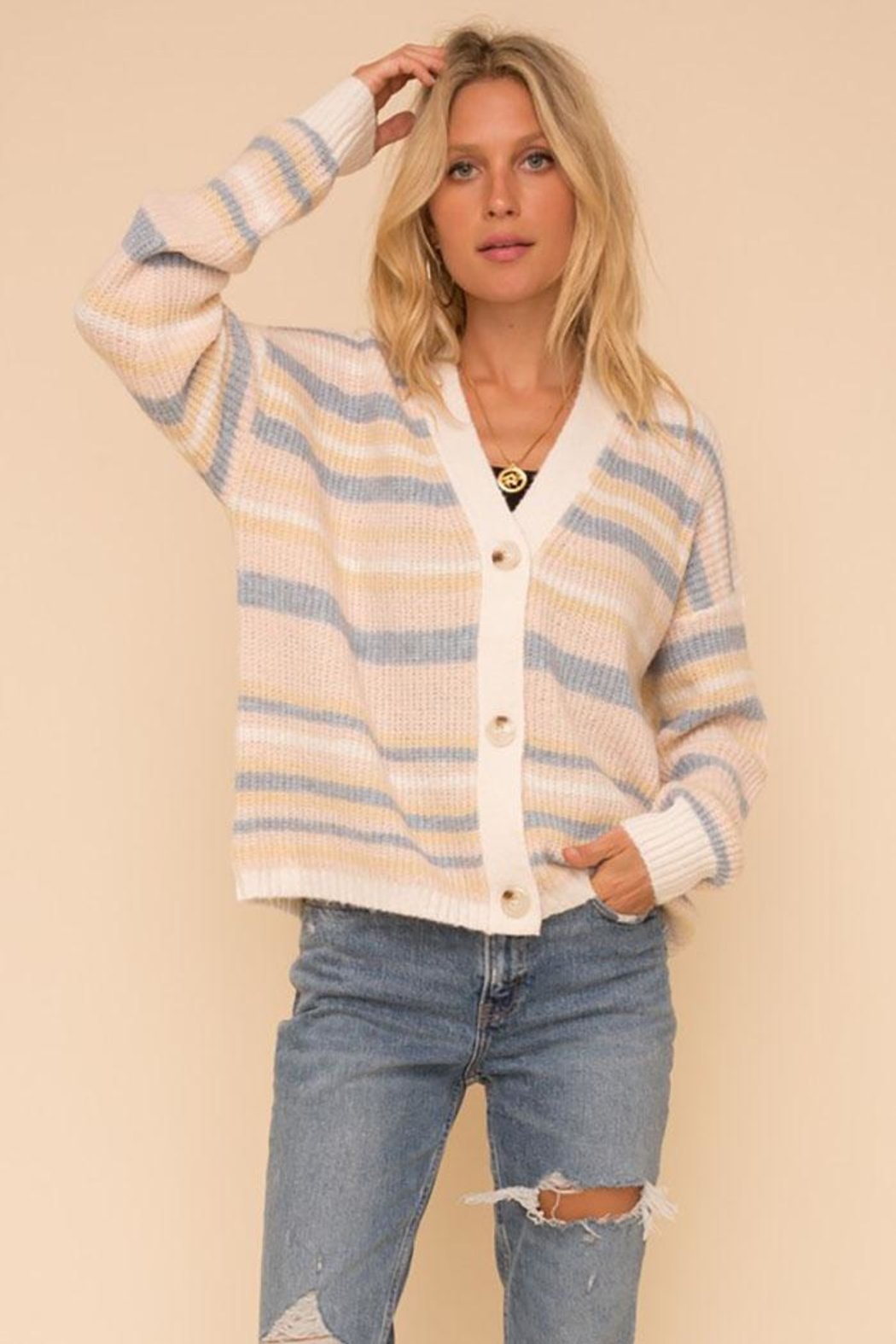 Hem & Thread Super Soft And Cozy Color Striped Sweater Cardigan - Main Image